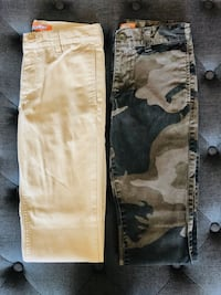 Size SMALL / 2 x Boys pants / 1 in tan & 1 in camouflage