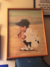 Painting of boy in game  sitting