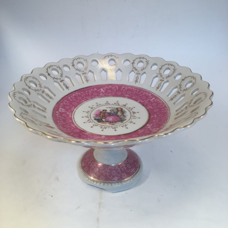Antique Hand Painted Porcelain Pedestal Plate Scalloped Edge Detachable Base  Stamped & Numbered On Bottom