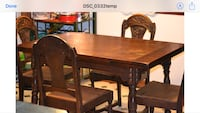 Rectangular brown wooden table with 4 chairs dining set North Stonington, 06359
