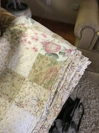 white and green pinks tans floral queen size quilt and shams  Seymour, 37865