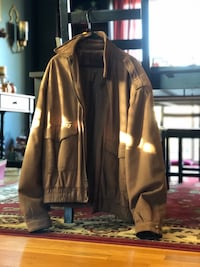 Brown leather zip-up jacket 26 km