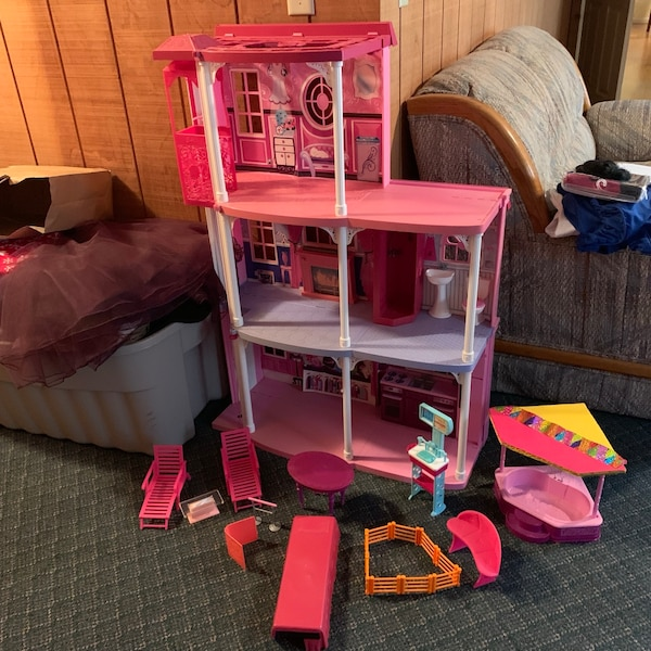 Barbie doll house working elevator pool and furniture townhouse girls toys