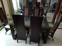 rectangular brown wooden table with six chairs dining set SINGAPORE