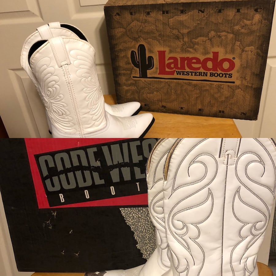 New-LAREDO WOMENS SZ 8M WHITE LEATHER WESTERN BOOTS&CODE WEST 8M BOOTS efc84927-9276-4839-bf33-5adea86467a5