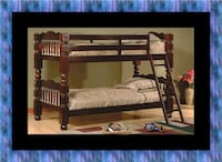 Twin wooden bunkbed frame East Riverdale