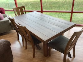 New Solid Wood Rustic Dining Table w/ 4 Chairs & Leaf