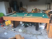 Full size pool table. In great condition except for felt on top; which need a deep clean or replaced. Pool balls and sticks included. One ball has a small hole. Asking $400.00 or best offer. Must be able to pick up. I don't have any way to transport.  Deland, 32724