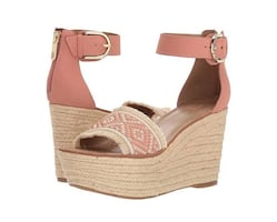 Blush open toe ankle strap wedge