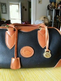 brown and black leather tote bag Westminster