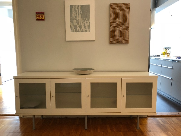 Ikea Cabinet Credenza : Ikea white credenza sideboard buffet cabinet w glass doors