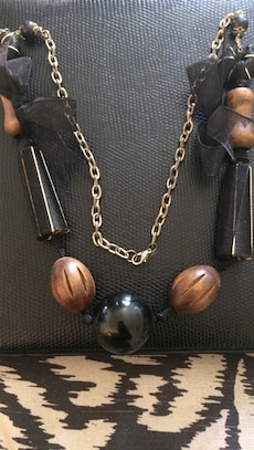 black and brown with bow  necklace