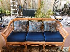 Gorgeous restored Vintage Wicker Couch and Chair, new custom cushions