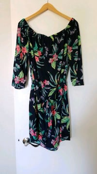 Floral pattern dress with fabric belt (1X) Lancaster