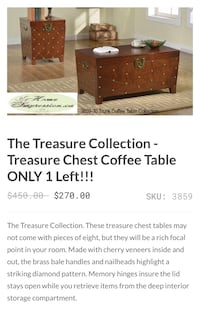 Treasure chest coffee table with storage