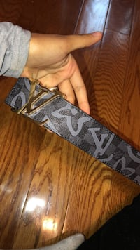 black and gray Louis Vuitton leather belt Gaithersburg, 20879