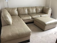 Cream/off white leather sectional sofa with ottoman Woodbridge, 22191