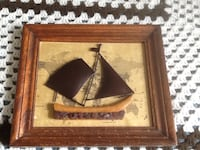 Wooden frame with metal sails on wooden bottom/brown beach glass Welland, L3C