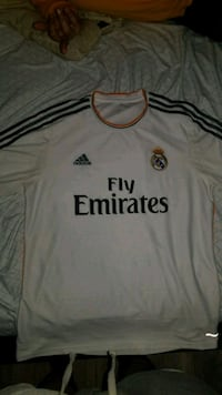 white and black Adidas Fly Emirates jersey shirt Valley Stream, 11580