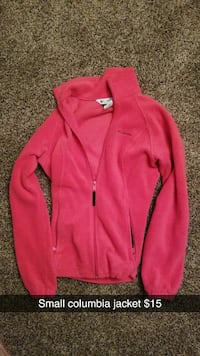 red Columbia zip-up jacket