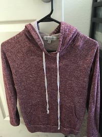 T-shirt style red pull over hoodie