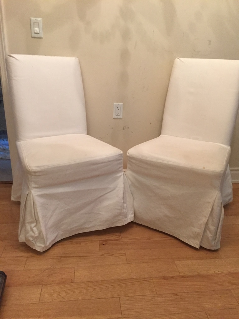 Two White Parsons Chairs, Used For Sale Aurora