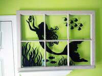 Rustic Window with Hand-Painted Mermaid Silhouette Brentwood
