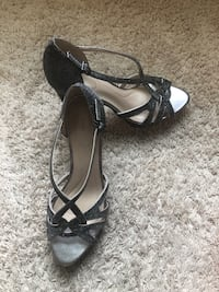 pair of black leather open-toe heeled sandals Fairfax