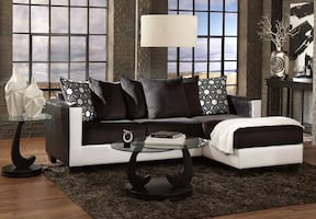 BRAND NEW BLACK AND WHITE FABRIC UPHOLSTERY SOFA CHAISE