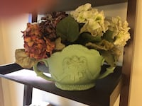 Green and white cameo vase with hydrangeas 16 km