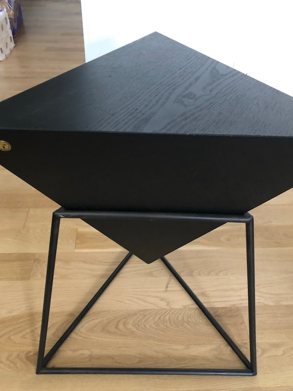 Triangle Coffee Table Wood.Wood And Metal Triangle Side Table