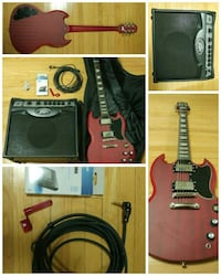 red electric guitar with guitar amplifier photo collage