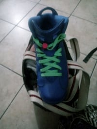 Bright blue with pink and green Throwback Jordans