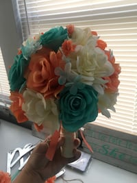 Aqua and coral Wedding flower lot