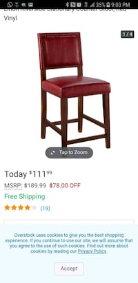 4 new  Linon counter stool red chairs!!! $75 each  North Arlington, 07031