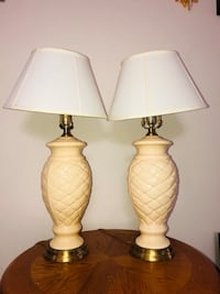 two white and brown table lamps Billerica, 01821