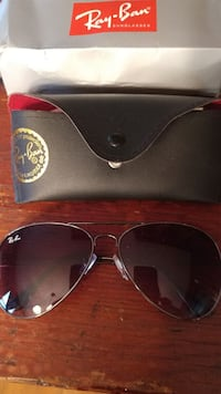 silver framed Ray-Ban Aviator sunglasses with case