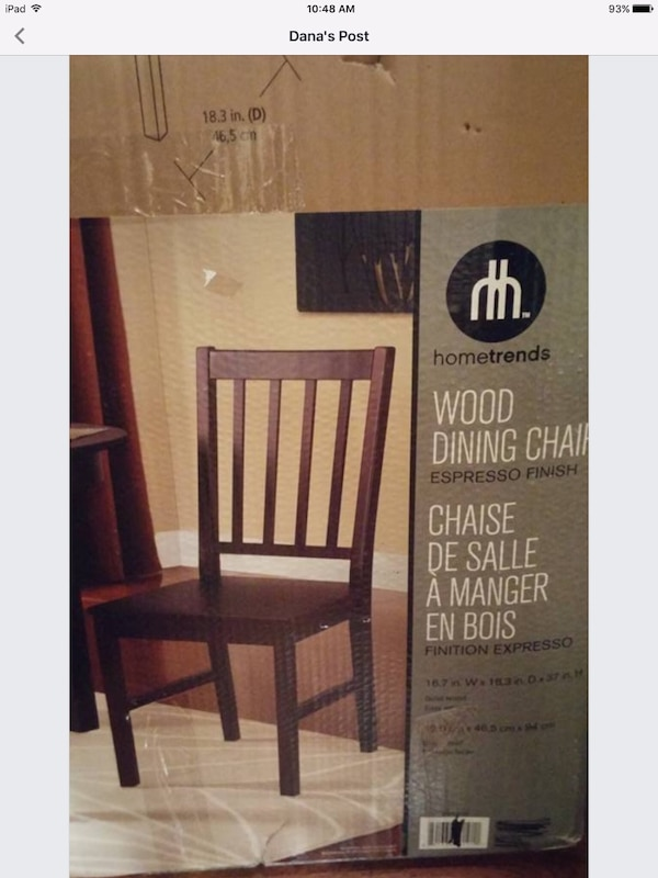 Brown wooden dining chair new in box 7f7ff6c9-a245-4951-8156-2d9eb9222c0d