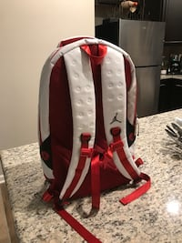 red and white Air Jordan backpack