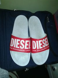 pair of white-and-red Diesel slide sandals St. Catharines, L2S 1H6