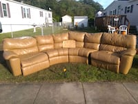4 piece sectional tan leather couch Upper Marlboro, 20772