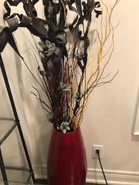 Tall Red Wood Vase