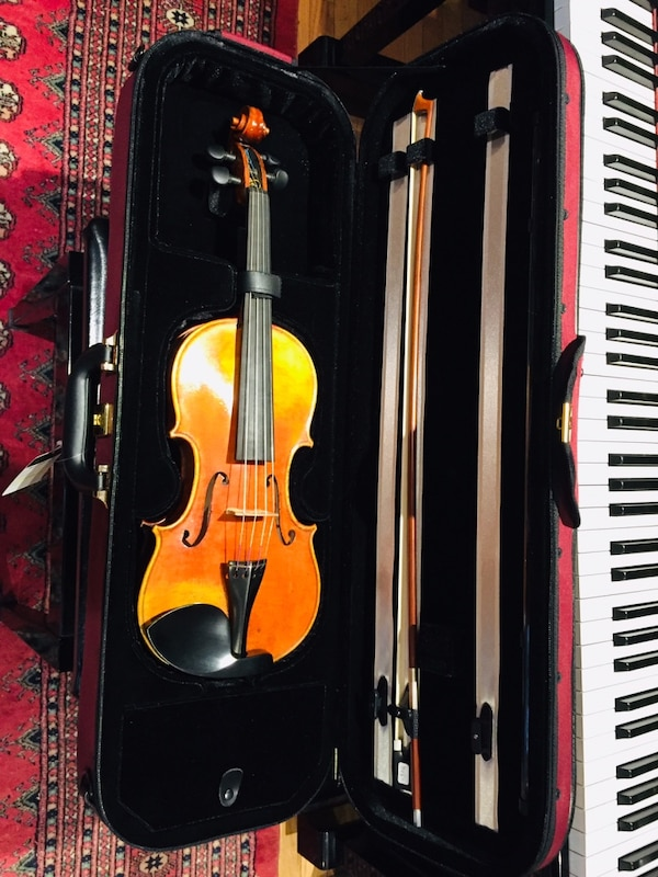 Full size Kono violin with self duty pegs,bow and light case. 7f21cd49-578b-496d-8caf-dd90f08be657
