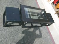 black wooden framed glass top coffee table Temecula