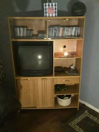 brown wooden TV hutch with flat screen television Sand Springs, 74063