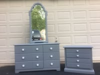 Solid Wood Long Dresser With Mirror and Nightstand Gray With White Handles  Manassas, 20112