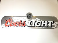red and gray Coors Light wall decor bar sign man cave