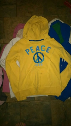 five assorted colors pullover hoodies