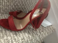 pair of brown leather open toe ankle strap heels Ottawa