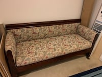 brown wooden framed beige floral padded sofa Potomac, 20854